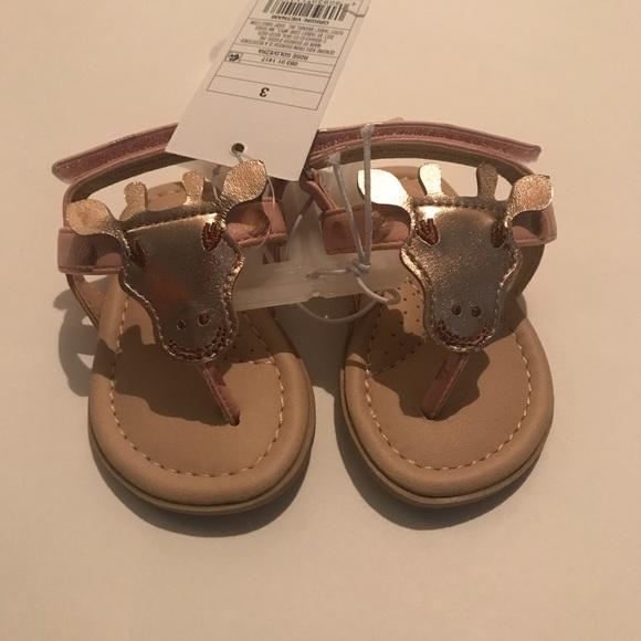 Baby Girls Rose Gold  Giraffe Sandels OshKosh  Size 4